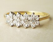 Vintage Diamond Flower Engagement Ring, 18k Gold Diamond Flower Ring, Vintage Engagement Ring, Approx. Size US 7.25/ 7.5