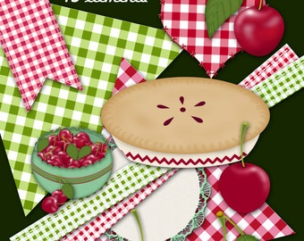 Instant Download, Cherry Pie Graphics Kit, Cherries and Gingham Checks Country Clip Art, Original by Cherie