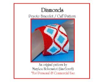 Peyote Bracelet Pattern ... DIAMONDS ... Beadwoven Cuff . Wide . Bold . Retro . Geometric . Modern . Simple . Jewelry . Style . 3 for 2