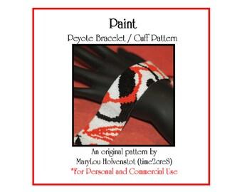 Peyote Bracelet Pattern ... PAINT ... Modern . Abstract . Bold . Fashion . Artistic . Jewelry . Splash . Splatters . Fun . Funky . 3 for 2