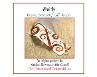 Peyote Bracelet Pattern ... SWIRLY ... Spirals . Vine . Whimsical . Bonus Pattern . Wide Cuff . Bold Design . Pretty . Feminine . 3 for 2