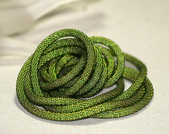 Olivine ... Bead Crochet . Necklace . Super Long . Elegant . Rope . Chic . Versatile . Lovely Gift . Slinky . Supple . Wrap . Green . Summer