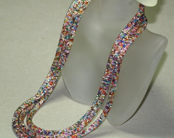 Makena ... Bead Crochet . Necklace . Rope . Long . Metallic . Colorful . Industrial Chic . Multi Color . Versatile . Beautiful . Gift