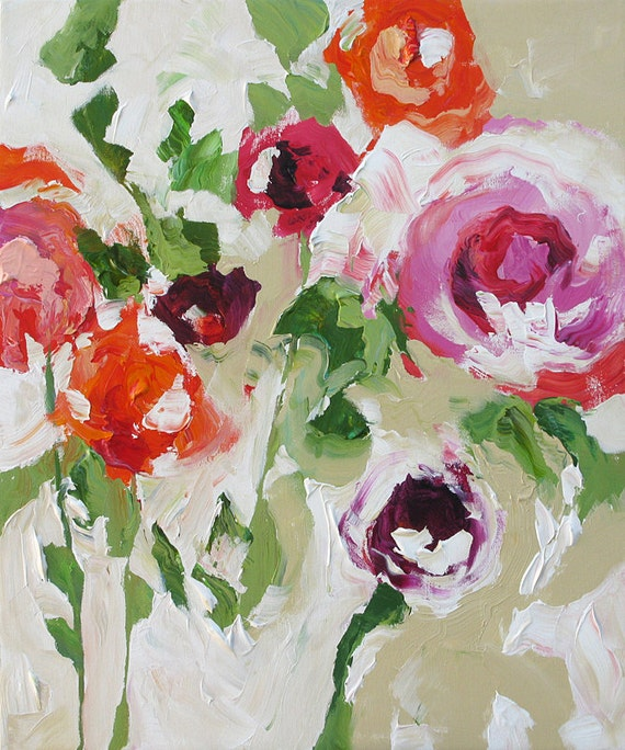 Original Abstract Floral Painting Fauve Impressionist