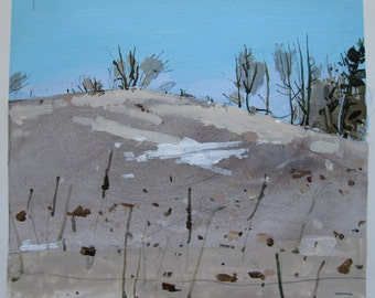 Little Snow Patch, Original Landscape Collage Painting on Paper