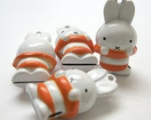 Bunny Rabbit White Brass Jingle Bell Pendant Charms 4pcs