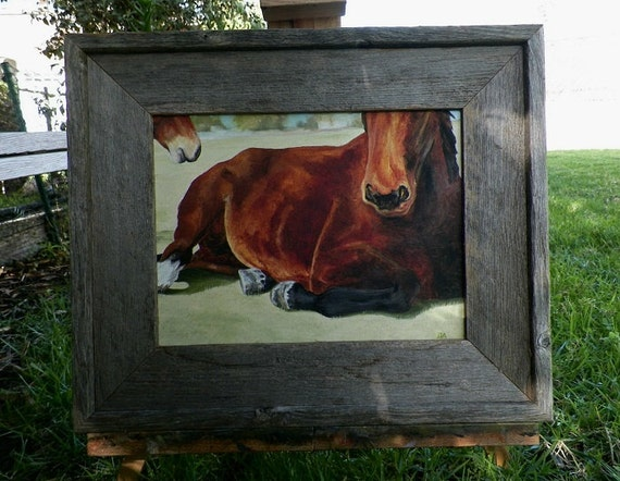 Original Oil Painting Horse Laying out in the Pasture Fields Grass Horse Landscape Art by debra alouise Equine Artist