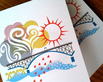 Ross Island Bridge Portland Notecards