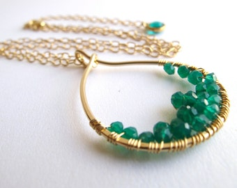 Cascade Green Onyx Necklace in 14 Karat Gold Filled Metal
