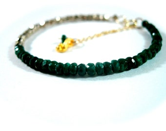 Emerald Gemstone Bracelet Precious Gem Pyrite Fool's Gold Delicate Handmade Jewelry