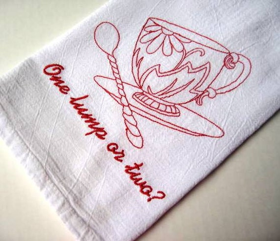Items Similar To Embroidered Cotton Dish Towel