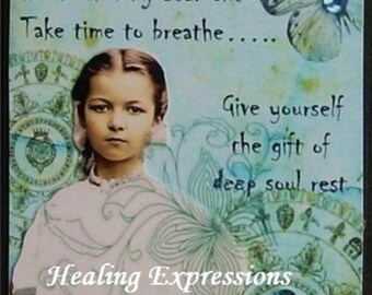 DEEP SOUL REST altered art inspirational collage survivor tears grief healing butterfly therapy AcEO AtC PRiNT