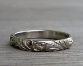 Recycled 950 Palladium Scroll Patterned Wedding Band or Stackable Ring, Made To Order
