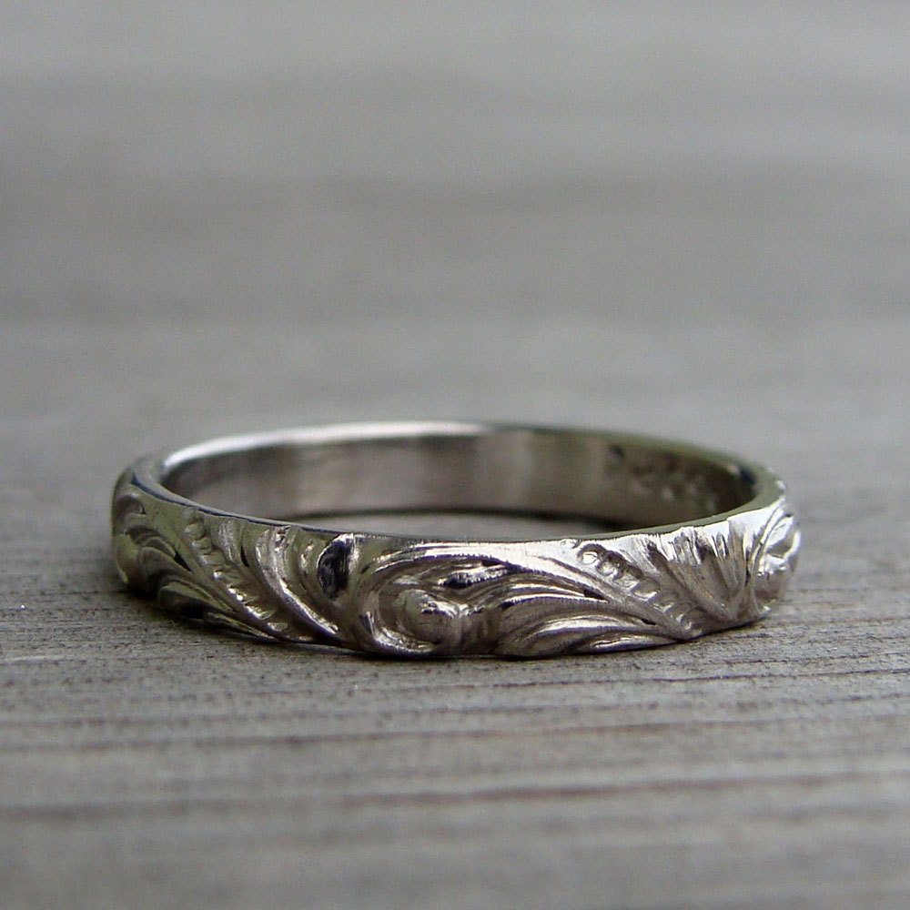 Recycled 950 Palladium Scroll Patterned Wedding Band Or