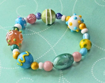 Pastel Spring Easter Bracelet for Ladies. OOAK and Ready to ship. Lampwork Glass beaded bracelet blue green peach yellow Stretch bracelet