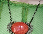 Pink Scarab Pendant Necklace