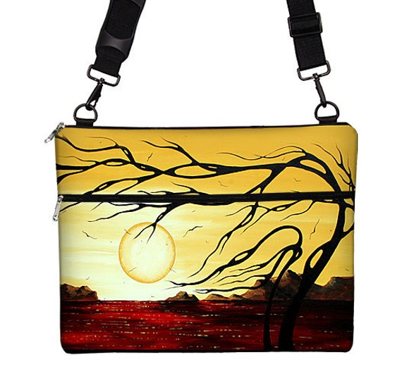"""13 inch Laptop Bag for MacBook Pro 13"""" Case Sleeve Cover Mac Laptop Messenger Bag with Strap MadArt Golden Harmony  (RTS)"""