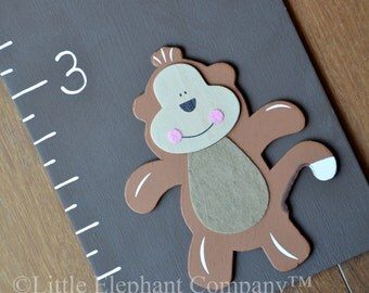 Jungle Wooden Growth Chart in Iron Oxide Brown, handpainted, FREE nail cover and personalization