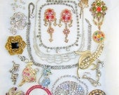 Vintage Jewelry Lot Rhinestone Crystal Necklace Earring Brooch Repair Crafts
