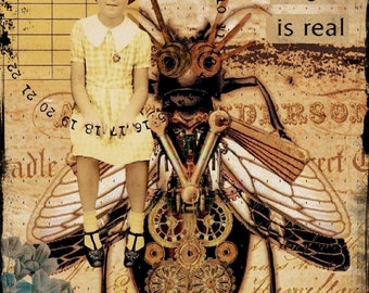 Everything you can imagine original collage altered art steampunk collage print