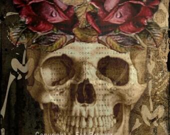 day of the dead digital collage ephemera altered art vintage collage sheets digital print supplies goth halloween skulls skeletons frida