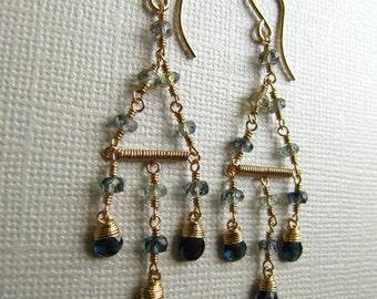 Blue Sapphire Chandelier Wire Wrapped Earrings