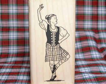Highland Dancer Rubber Stamp Third Aerial Position