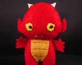 Baby Fire Dragon - Red Yellow - Keychain Charm Plush ornament
