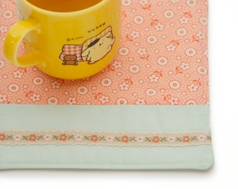 Country Kitchen Fabric Drink Coaster, Peach and Mint Retro Fabrics, Large Size Mug Mat, Girly Flower Ribbon Drink Coaster, Table Top Decor