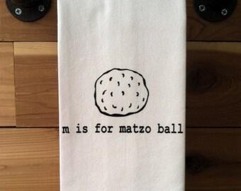 m is for matzo ball- Kitchen Towel, Tea Towel, Flour Sack Towel- Single