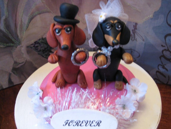 Dachshund Dog Duo Wedding Cake Topper Anniversary Vow