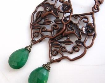 Emerald and Copper Scene Earrings