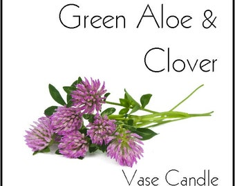 Green Aloe & Clover Vase Candle Refill - Scented, Soy, Paraffin Wax, Paper Core, Self-trimming Wick, Refillable Vase, 50 Hour Burn Time Each