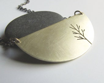 Half Moon Sapling Tree Art brass pendant - made to order