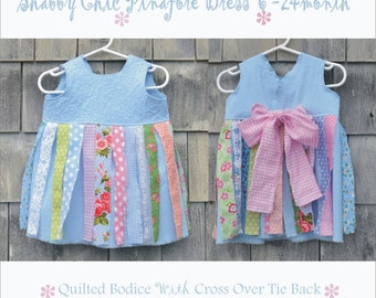 SALE Baby Toddler DReSS 6 - 24 month PHoTo PRoP Sewn Tie Back PiNaFORE Blue Pink SHaBBy CHiC PiNNiE Apron QUiLTeD BoDiCE Fabric Strip Fringe