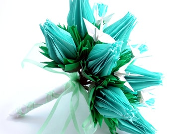 Mint Origami Crane Rose Bridal Wedding Bouquet Alternative Paper Flower Bouquet