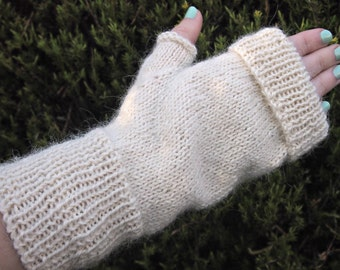 Fingerless Mitts Gloves - rich magnolia