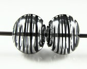 Black and Clear Swirls Lampwork Glass Bead Pairs
