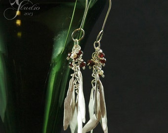 Long Leaf Earrings with Garnets and Pearls sterling silver dangle flutter swingy January birthstone