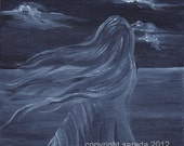 Dark gothic art print fantasy art ghost woman monochrome black/white horror 5 x 7 reproduction spooky haunted spirit occult art