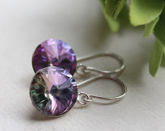 Swarovski Rivoli Earrings - Sterling Silver - Wedding Jewelry - Bridesmaids