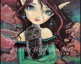 Cute Gothic Big Eye Fairy and Owl Fantasy Fine Art Print  by Molly Harrison 8 x 10 - Owls Fairies Faery