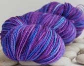 Handpainted Yarn, Merino Sock Yarn - Variegated, 385yds - Purple Rain