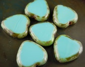 Czech Glass Beads Heart 15mm Turquoise Picasso (G - 571)