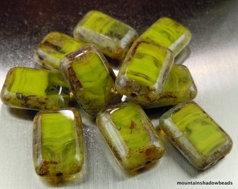 12 Czech Glass Beads 8x12mm Crystal Olivine Picasso Table Cut Rectangle Bead (G - 630)