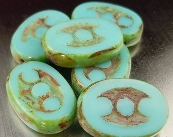 Czech Picasso Beads 3 Dot Oval - Turquoise Picasso Czech Glass Beads - 6 (G - 591)