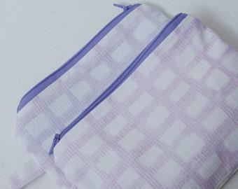 Zippered Purple Plaid Wristlets for Makeup, Short Trips, Beach