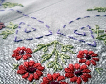 Vintage Tablecloth - Cotton Lawn with hand embroidered spring flowers