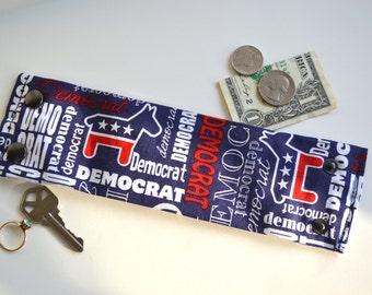 "Money Wrist  Cuff - ""Secret Stash""- ""The Democrat ""  hide your cash, key, jewels,  in a hidden inside zipper"