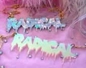 RADICAL Acrylic Necklace in Rainbow Confetti or Radiant